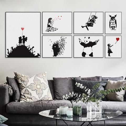 Modern Abstrcat Black White Banksy Hipster Pop A4 Art Print Poster Wall Picture Living Room Canvas Painting No Frame Home Decor Living Room Canvas Painting White Wall Decor Living Room Canvas