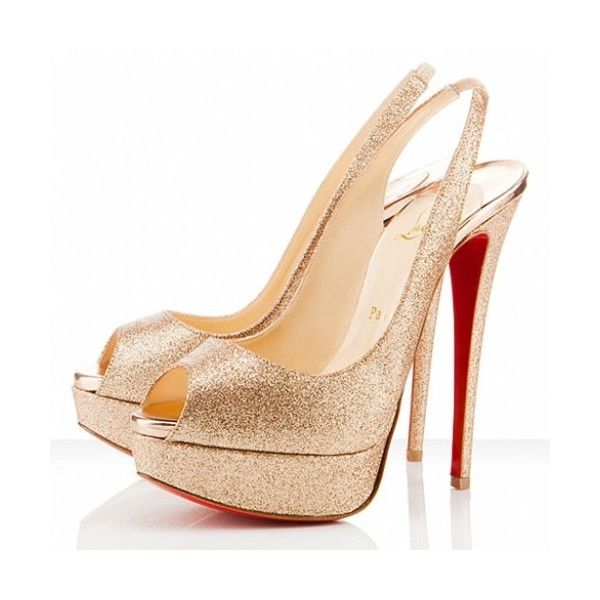 e6f3c9681a1 red bottom glitter shoes lady peep toe slingback gold found on Polyvore