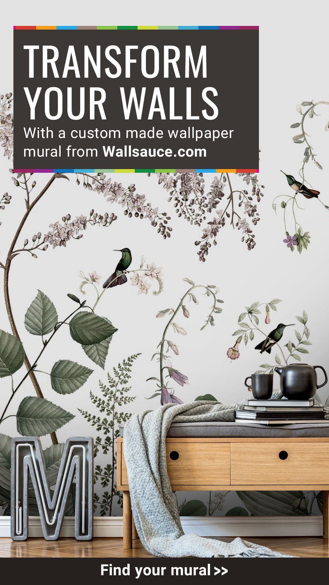 Looking To Create A Show Stopping Feature Wall Look No Further Mural Wallpaper Wall Coverings Wallpaper Living Room How to measure how much wallpaper you