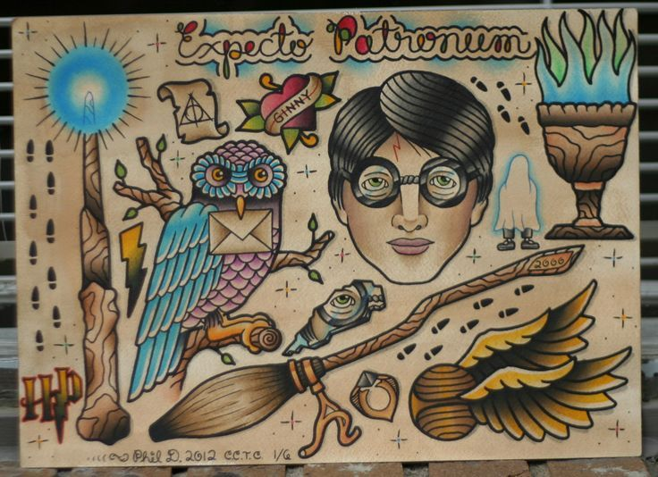 Old School Harry Potter Tattoo Harry Potter Tattoos Harry Potter Tattoo Traditional Tattoo