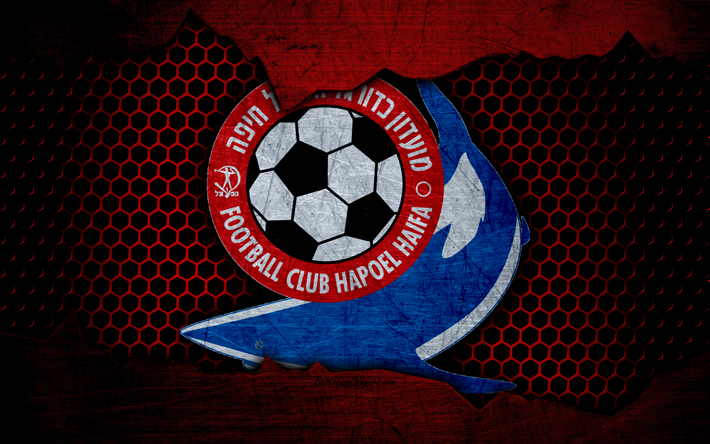 Download wallpapers Hapoel Haifa, 4k, logo, Ligat haAl, soccer, football club, Israel, grunge, metal texture, Hapoel Haifa FC