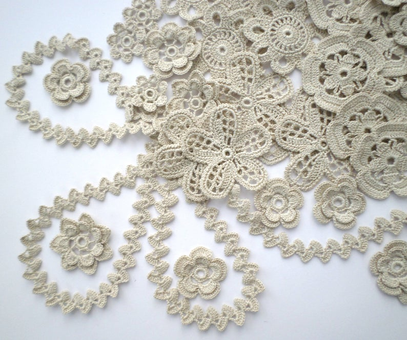 Set of 45 fine grey crochet flower motifs and 2 flexible cords Flower applique Irish crochet Irish lace fine thread boho hippie decor #irishcrochetflowers