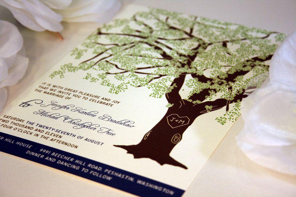 SAMPLE of Grandfather Oak Tree Wedding Invitations by vohandmade ...
