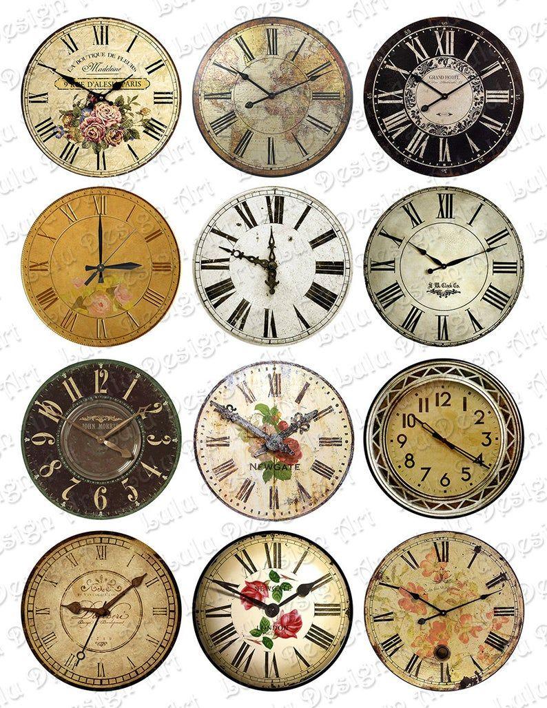 Digital Collage Sheet Vintage Clock Pocket Mirror Images Etsy Printable Circles Vintage Clock Collage Sheet
