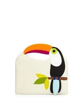 Kate-Spade-Fine-Feather-Tansi-Parrot-Clutch-Leather-NWT-4963