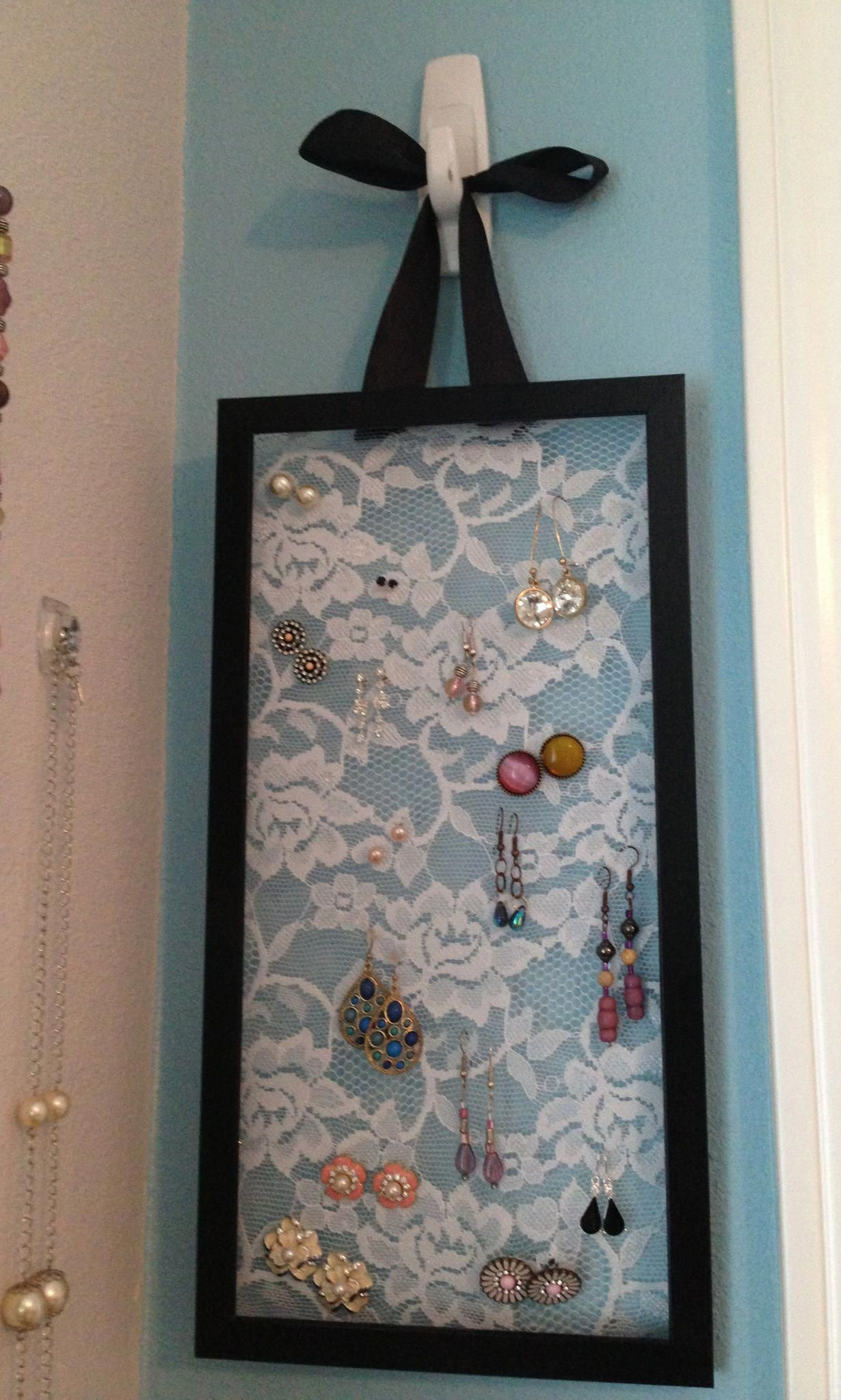 Diy Hanging Earring Holder Picture Frame Lace And Ribbon