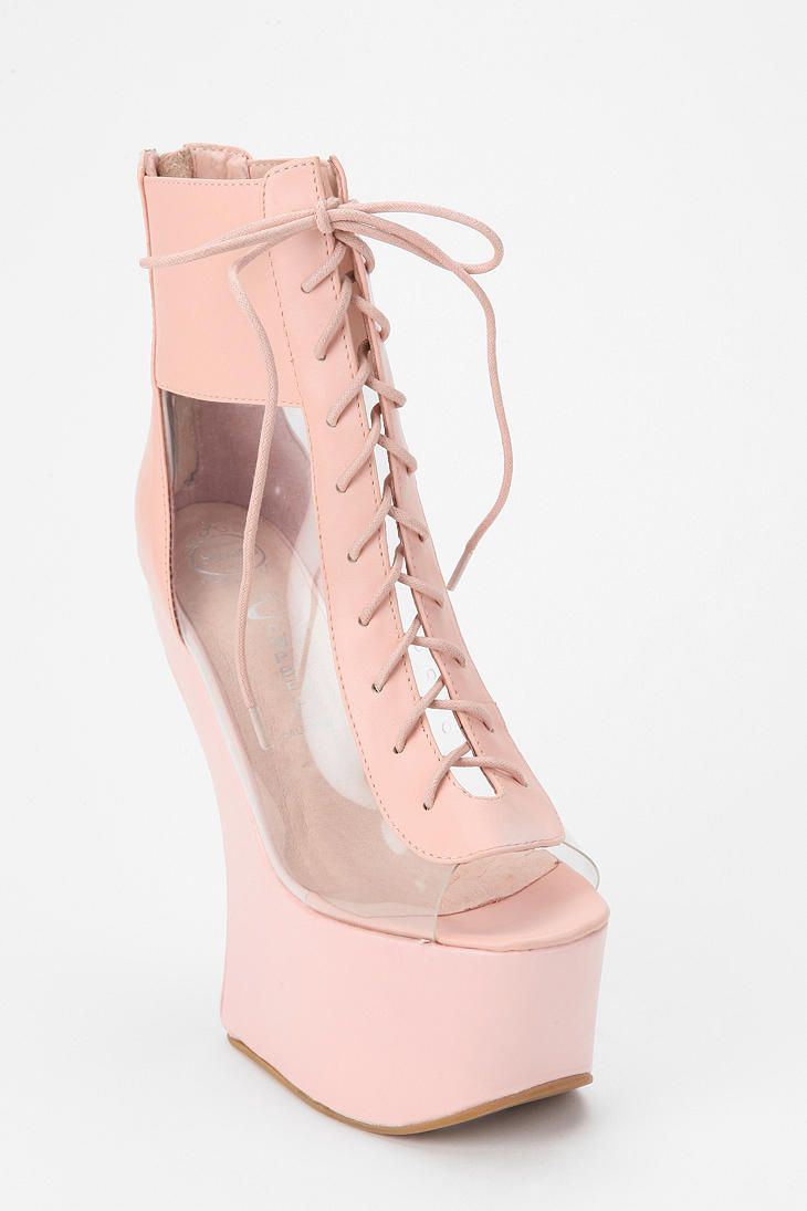 d18de3008ec Lucite heel-less light pink lace up wedges. And they re Jeffrey Campbell.  This is my first pin to a board dedicated entirely to my love for shoes.