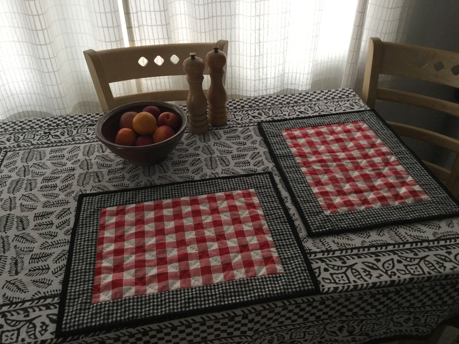 Quilted Placemats - table setting, kitchen placemats, dining ...