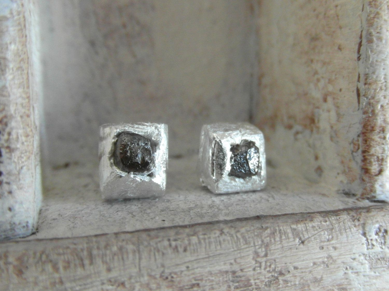 Genuine Rough Cut Organic Sterling Silver Black Diamond Cube Stud Earrings