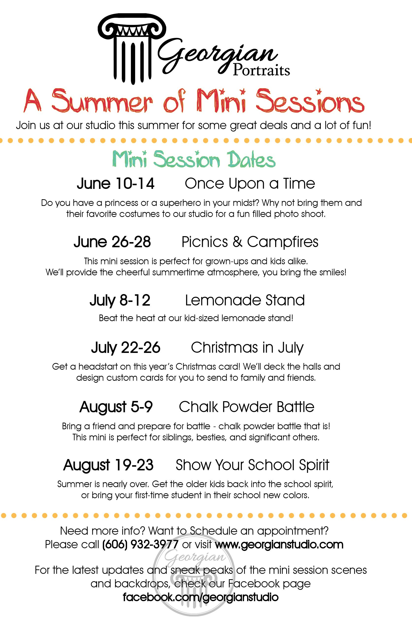 Our summer mini-session schedule! | Photography