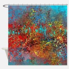 Abstract In Turquoise Red Yellow Shower Curtain For