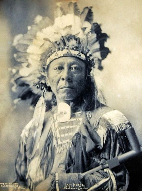 An old photograph of Last Horse - Oglala Sioux.