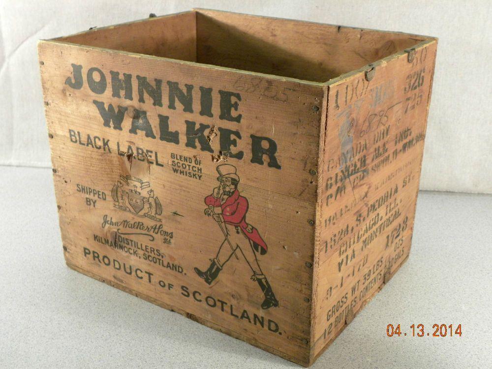 Johnnie Walker Black Label Scotch Crate Wooden Box Vintage