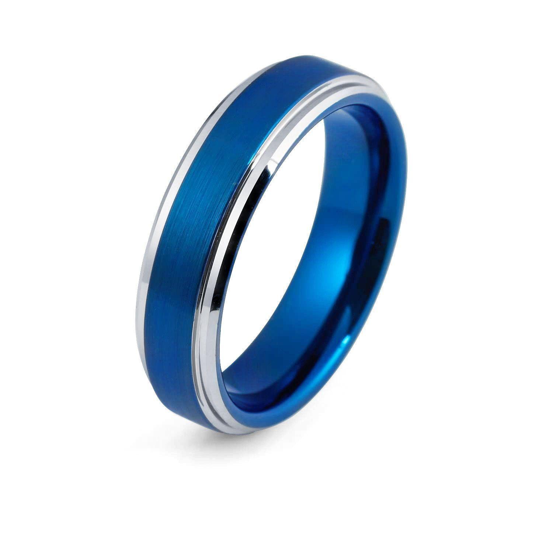 Tungsten Ring Blue Wedding Band Mens Wedding Ring Man Engagement