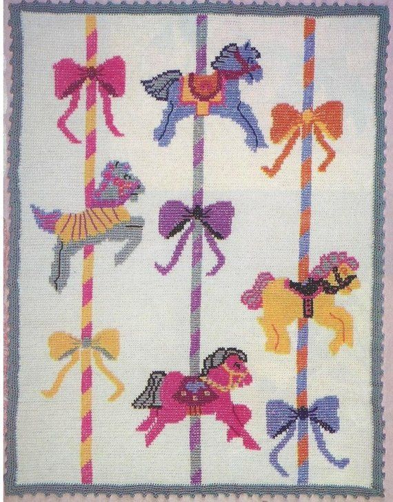 Vintage Crochet Afghan Pattern Carousel Horses and Bows Merry Go ...