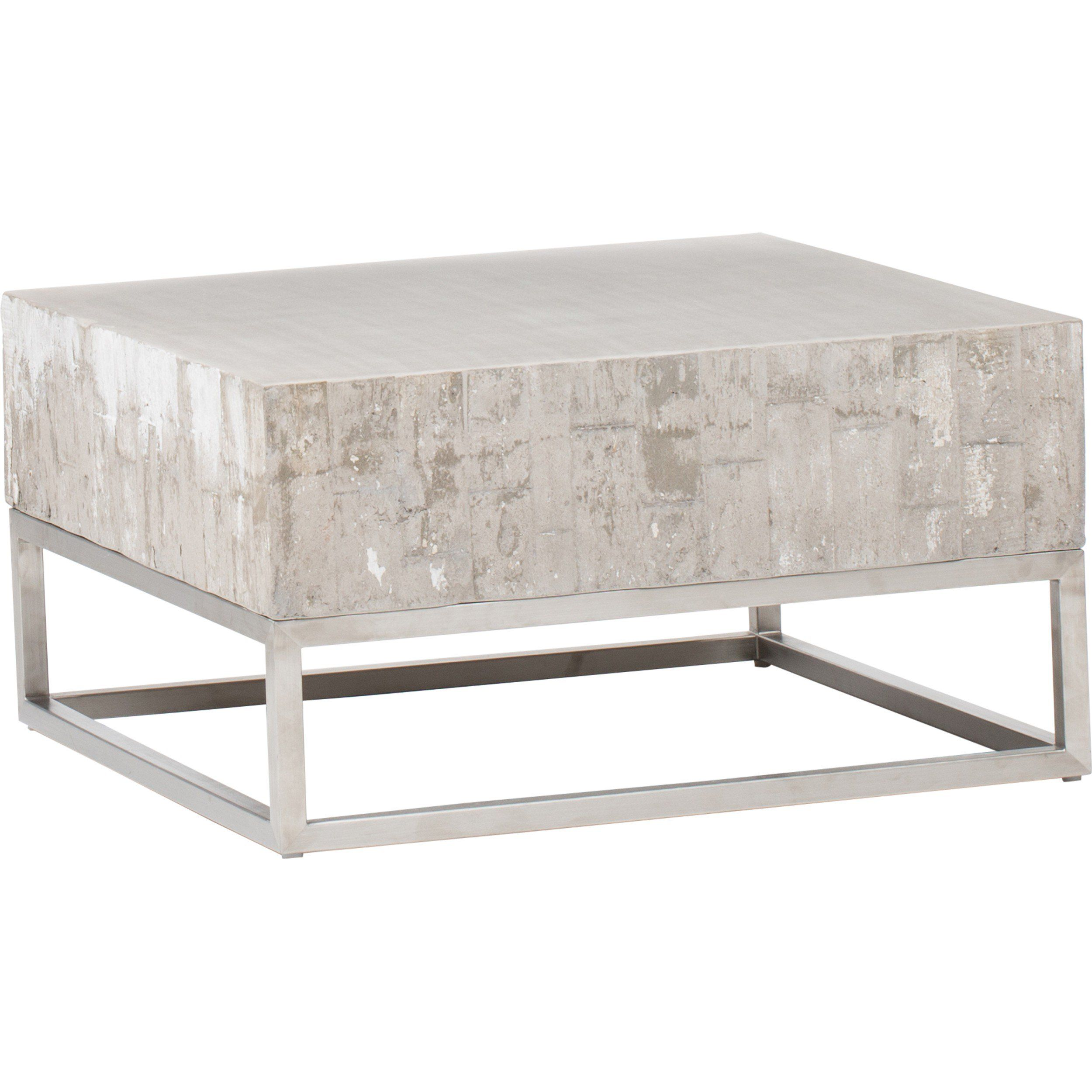 Concrete And Chrome Coffee Table HERITAGE GROVES DRIVE - Concrete and chrome coffee table