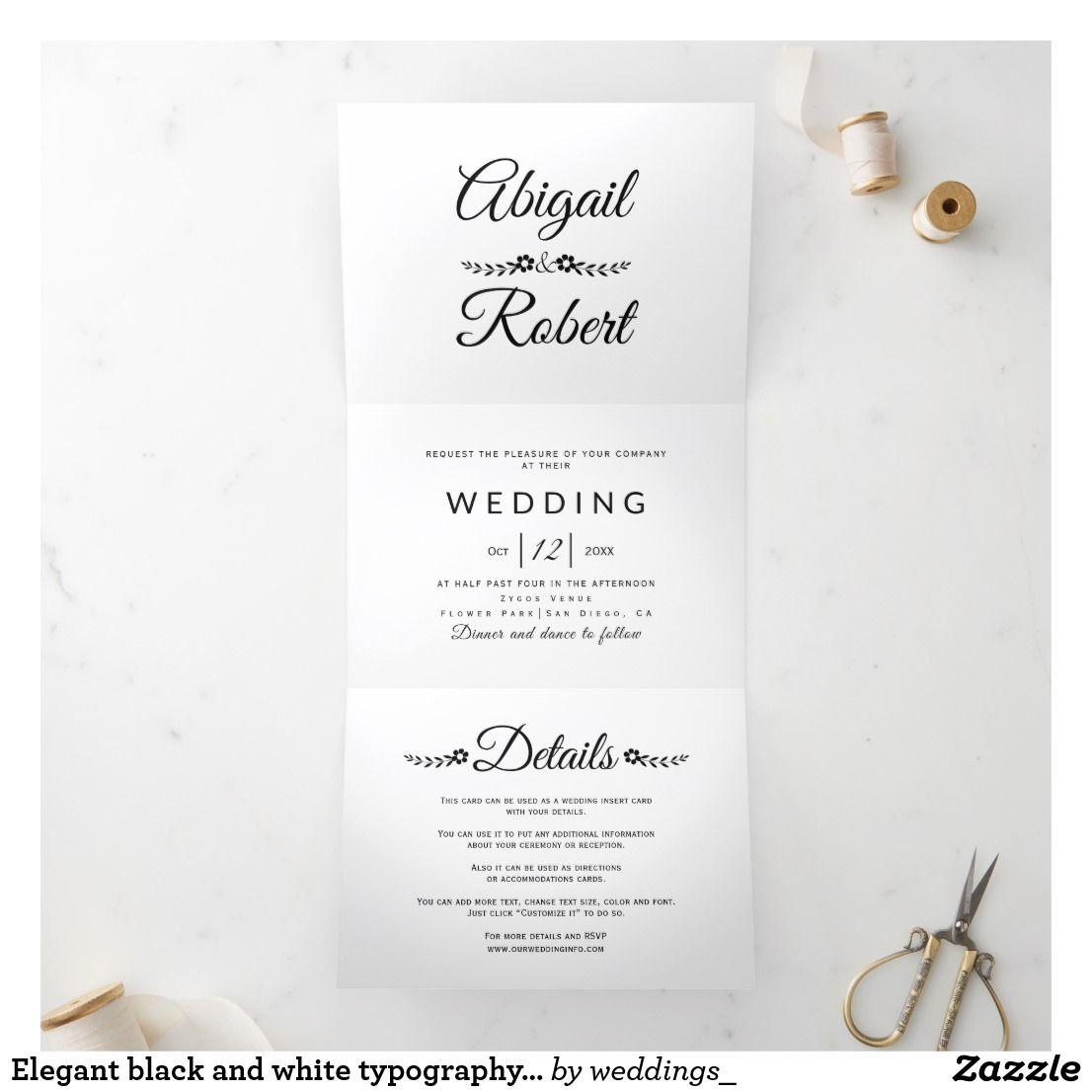 Elegant Black And White Typography Photo Wedding Tri Fold Invitation Zazzle Com Photo Wedding Invitations Wedding Typography Wedding Invitations Uk