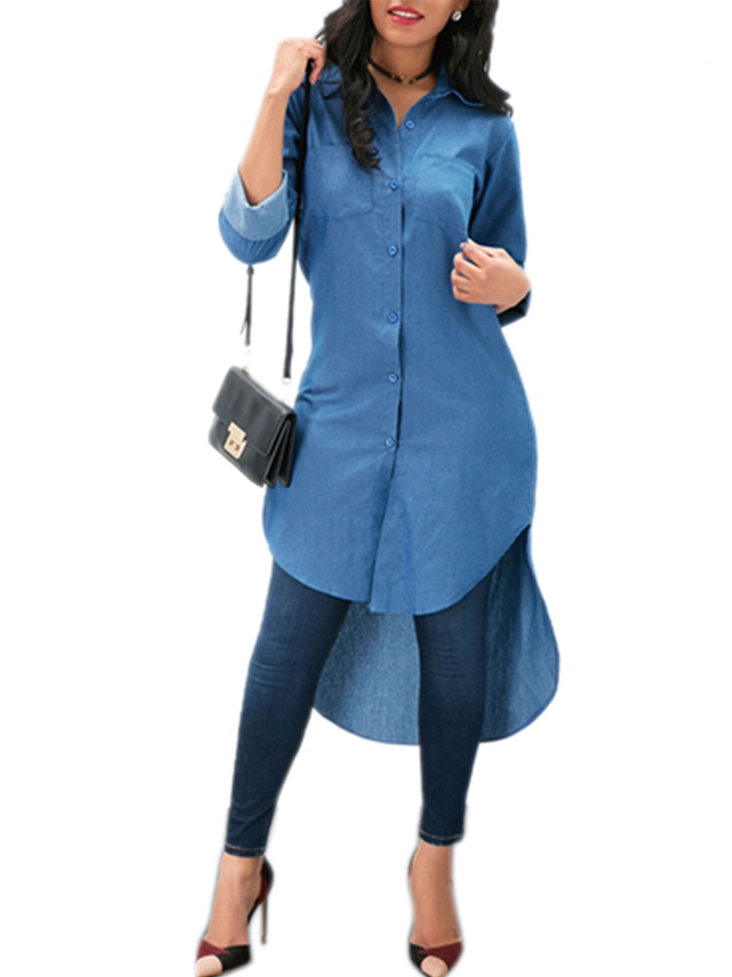 Women Autum Long Sleeve Mini Dress OL Ladies Casual Work Plain Shirt Blouse Tops