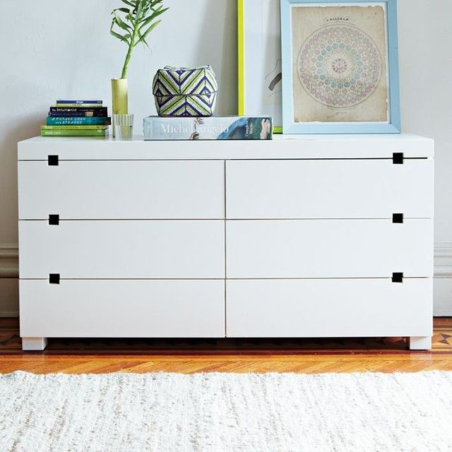 Square Cutout 6 Drawer Dresser Modern Dressers Chests And Bedroom Armoires