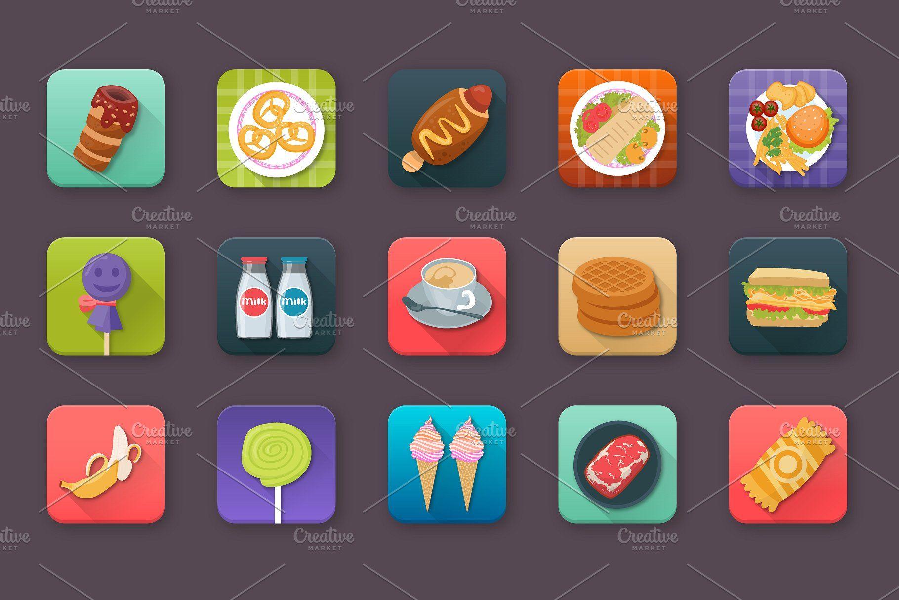 60 Food and Drinks App Icons FoodDrinksIconsApp