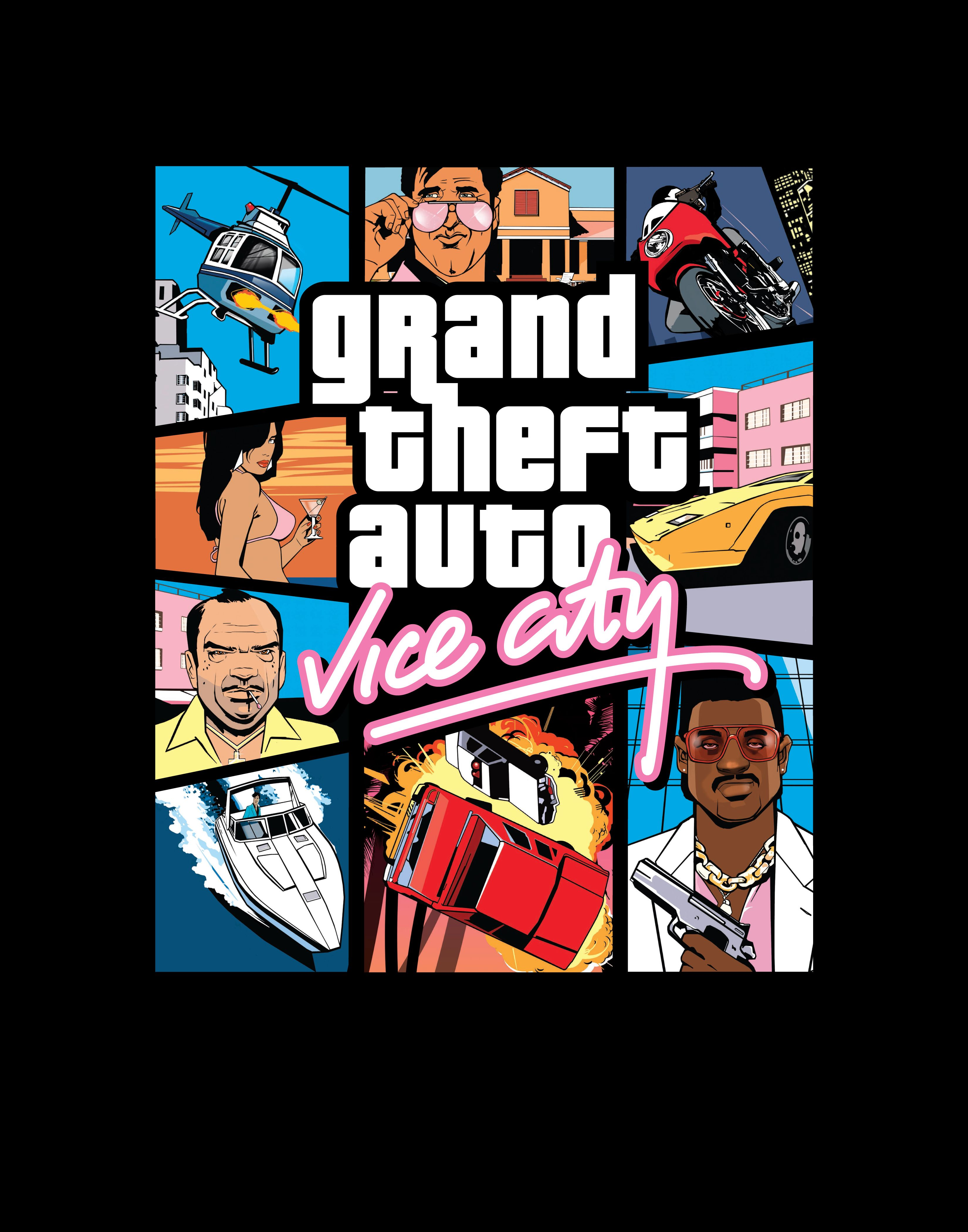 Gta Vice City Front Of Box Cover Stephen Bliss 2002 Grand Theft Auto Theft City Artwork