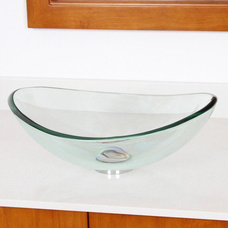Mini Tempered Glass Oval Vessel Bathroom Sink In 2020 Glass Boat Wall Mounted Bathroom Sinks Bathroom Sink