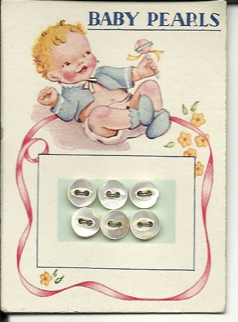 Baby Pearls Tiny vintage buttons on original card