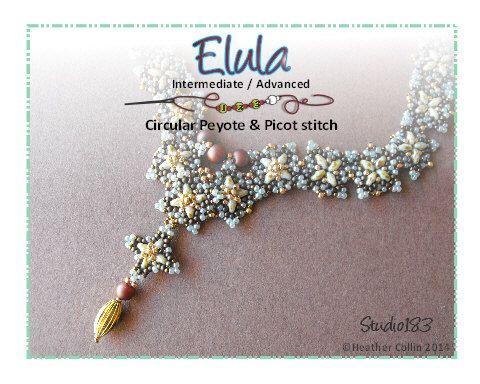 Beading Pattern Peyote and Picot Stitch Necklace Beading Tutorial ELULA de Studio183 en Etsy https://www.etsy.com/es/listing/176195786/beading-pattern-peyote-and-picot-stitch