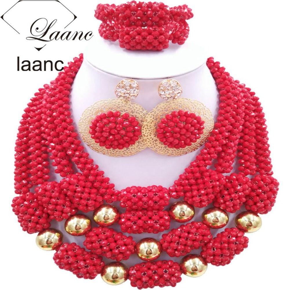 African Wedding Bridal Costume Jewelry Sets Nigerian Beads Crystal ...