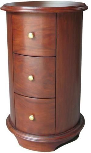 Best Cylinder Round Bedside Table Cabinet 3 Drawer Solid 400 x 300