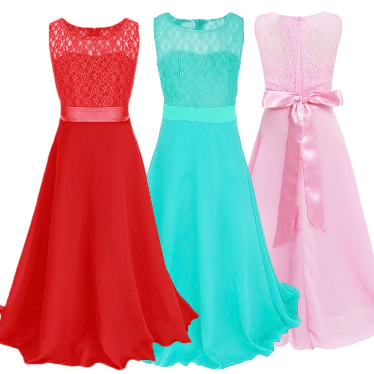 Girl kid dress flower wedding pageant long maxi gown lace chiffon