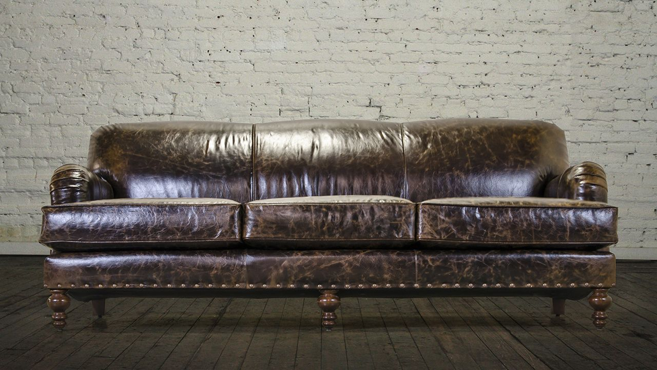 Captivating English Arm Tight Back Leather Sofa