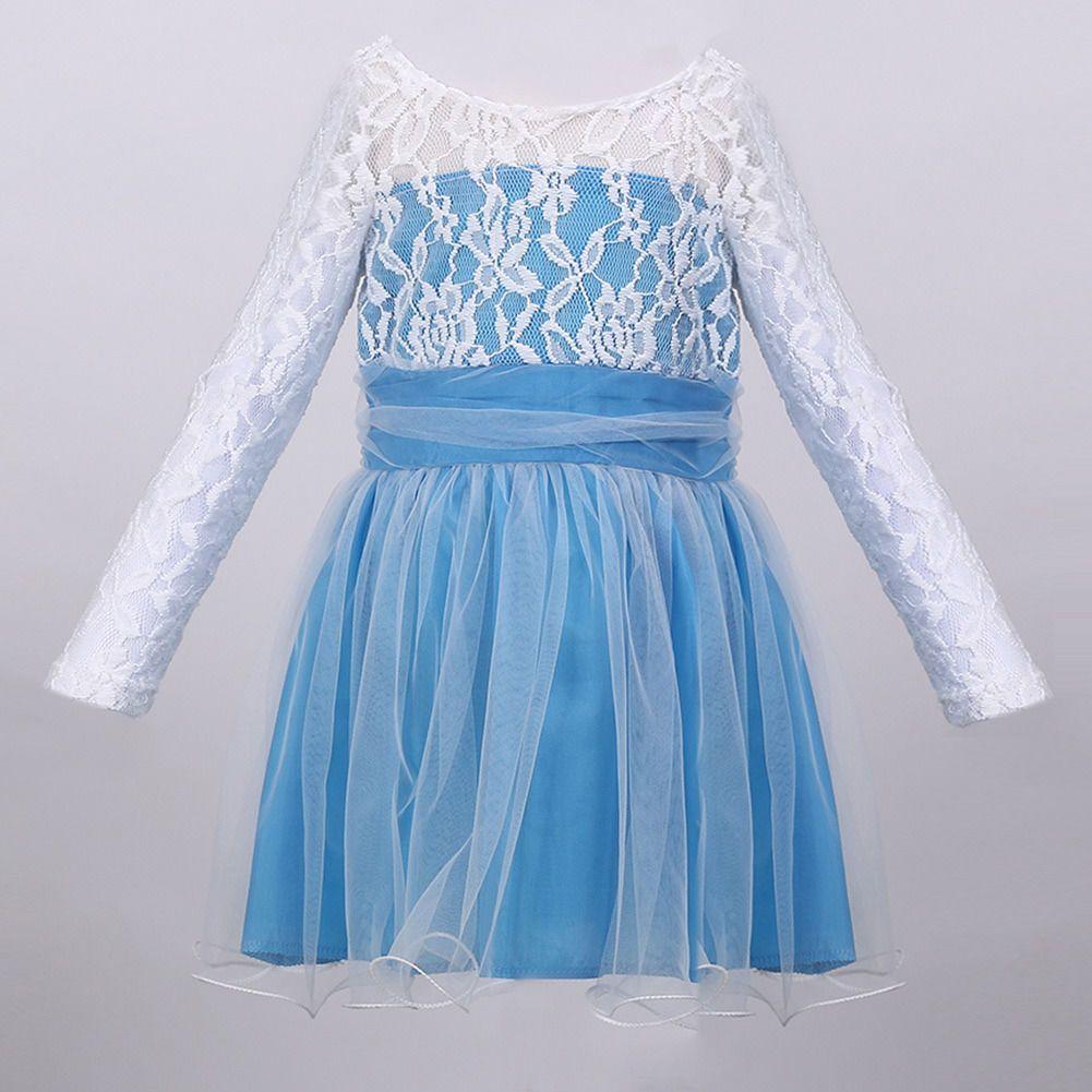 Hot Child Kids Girls Princess Lake Blue Lace Tulle Formal Dress ...