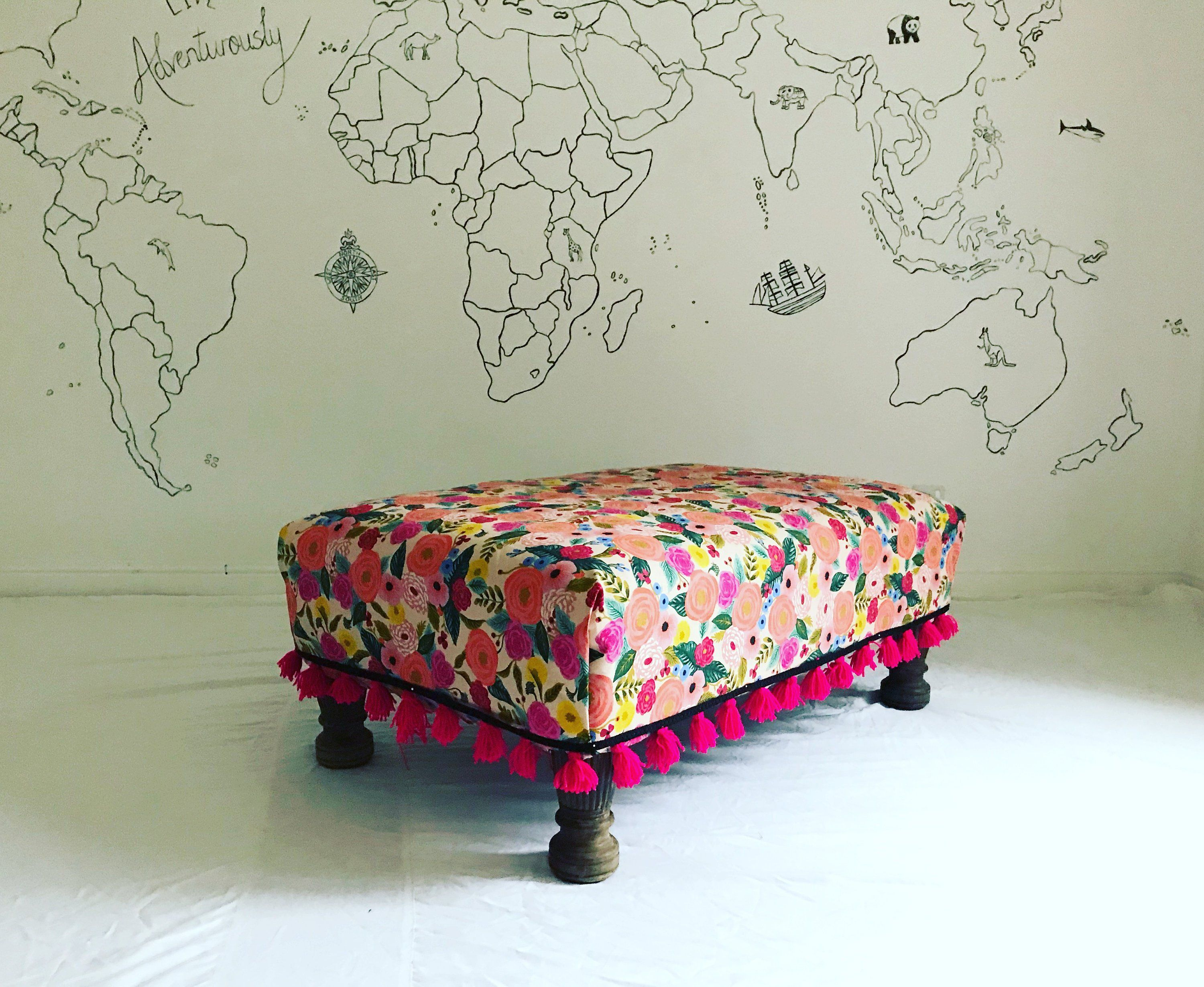 Very Cool And Unique Footstool All Ottomans Are Custom Made To Any Size And With Any Fabric And With Any Colour Hand Made Tasse Footstool Ottoman Furnishings