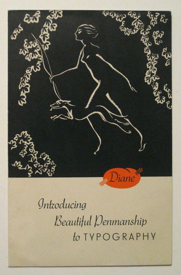 1936 DIANE FONT Germany ART DECO Design TYPE SPECIMEN CATALOG Typography