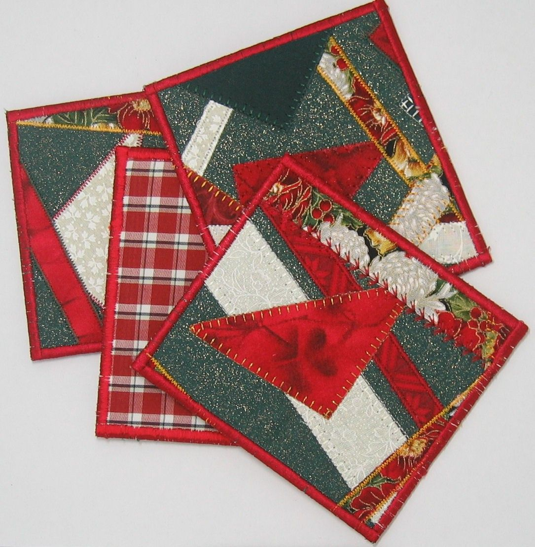 Christmas Coasters Set Of 4 Etsy In 2021 Christmas Coasters Christmas Placemats Coaster Set