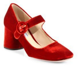 630327815e3 Prada Velvet Mary Jane Block Heel Pumps designer red  fashion affiliate