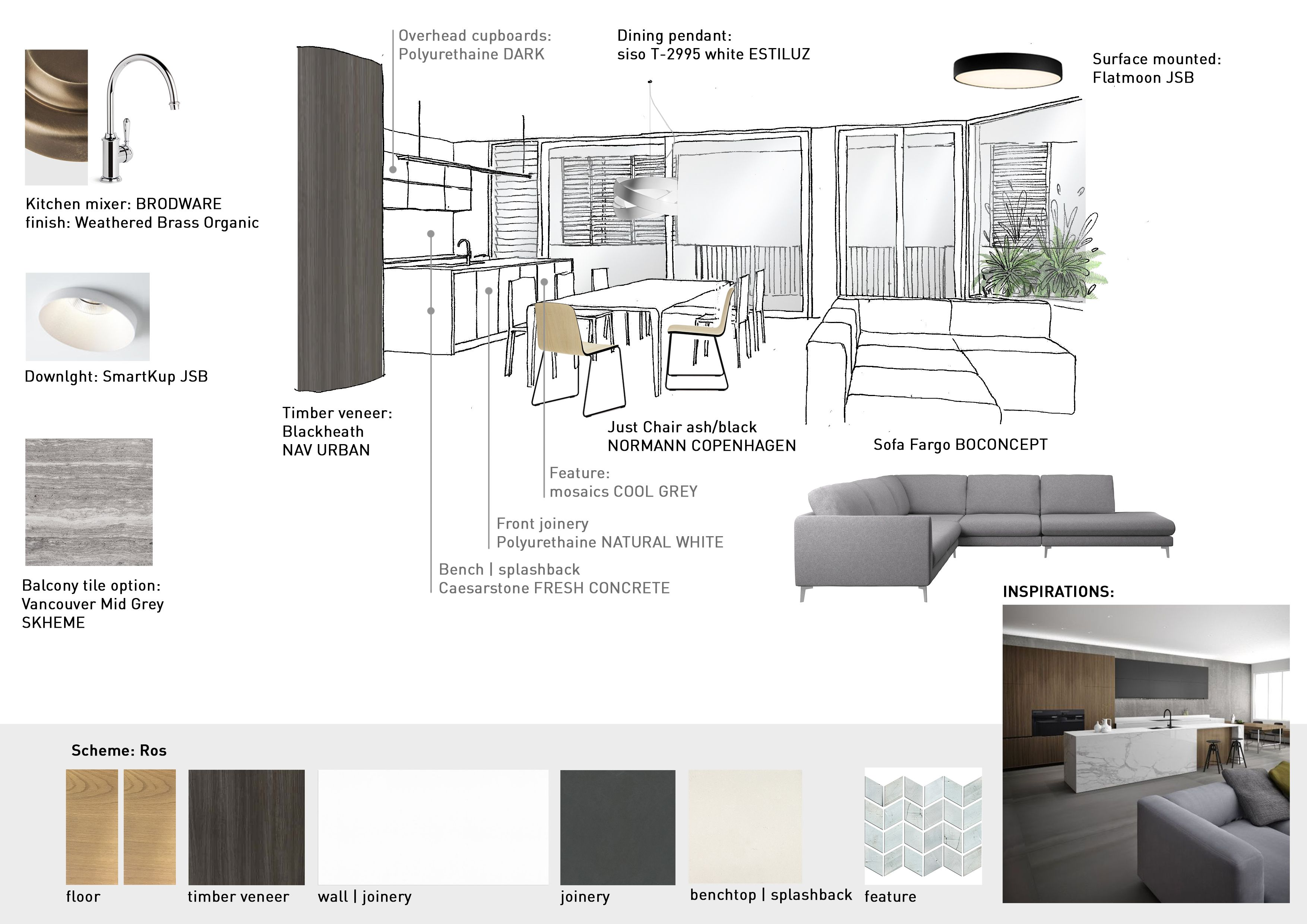 Moodboard graphic presentation sketch materials and - Interior design sample board software ...