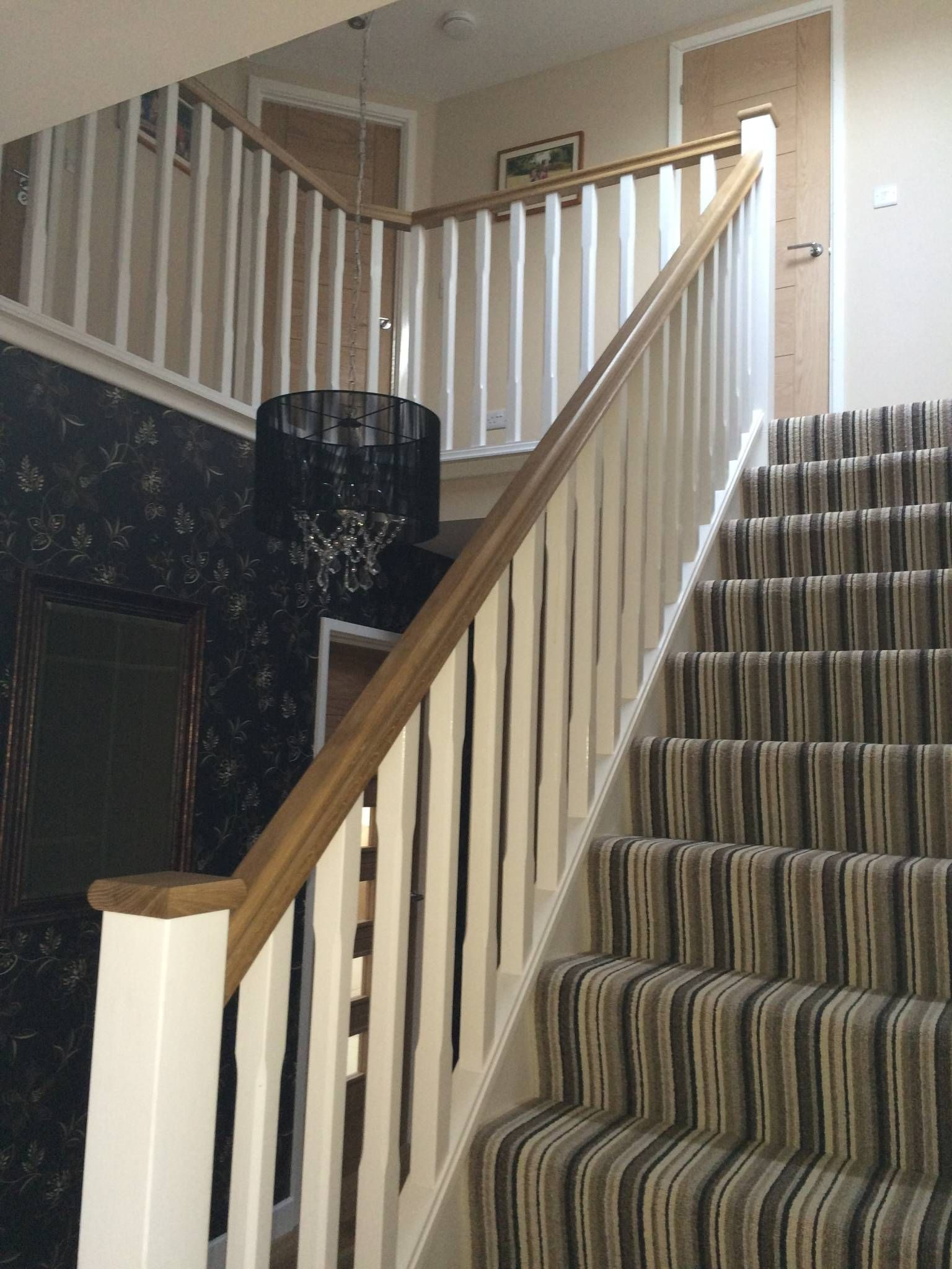 Basic Staircase With Oak Handrail And Pine Stop Chamfered Spindles : Rustic  Style Corridor, Hallway