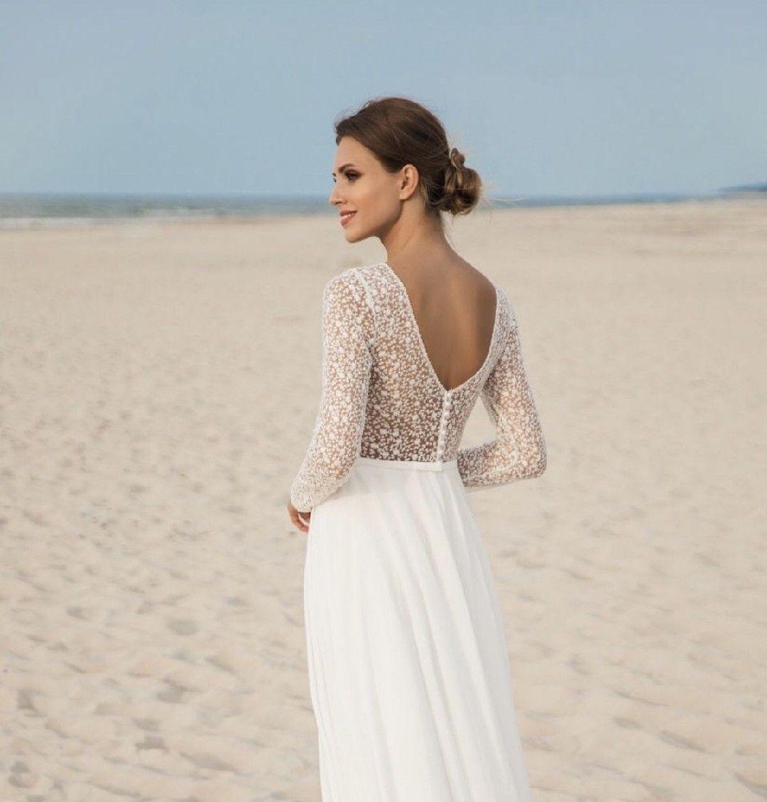 Brautkleid mit langem Arm aus Spitze und schmalem Chiffon Rock