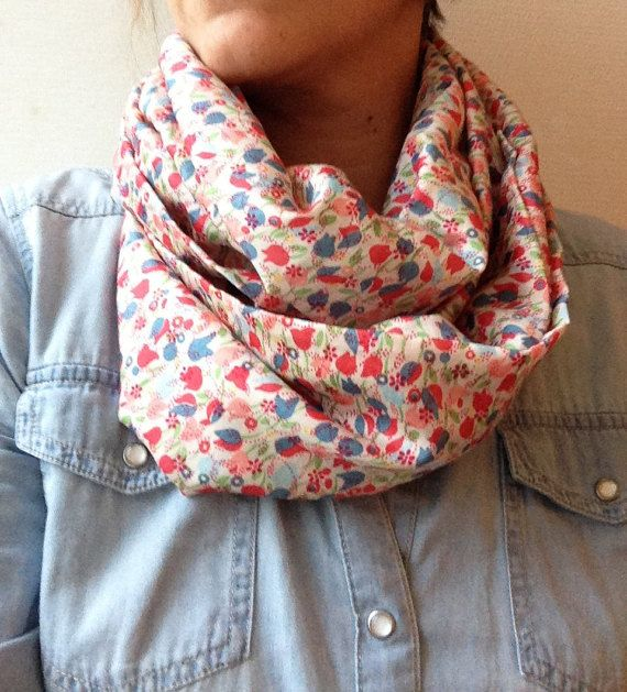 6eef0562827f Infinity scarf women, light coton fabric, with little flowers   What ...
