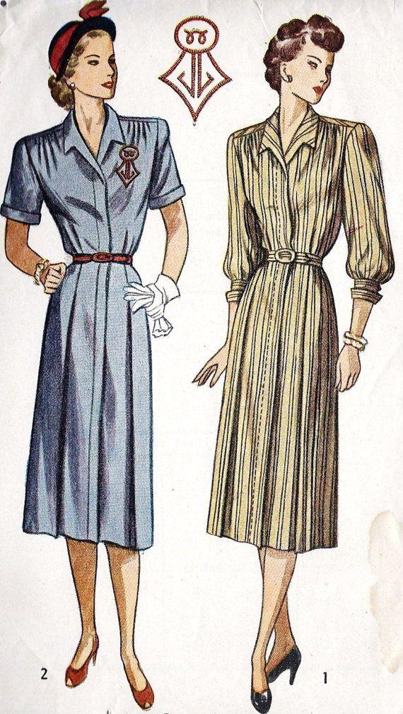 1940s Misses Dress Vintage Sewing Pattern Soft by MissBettysAttic ...
