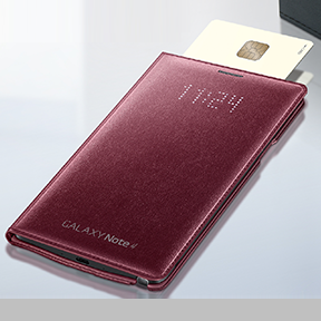 The Samsung Galaxy Note 4 LED Flip Wallet is the world's first smartphone cover that displays information and messages from the phone with a LED display and also has a credit card storage slot. The LED display hidden in the front cover delivers incoming information from the phone, such as phone calls, texts and notifications while providing emotional feelings to users like sparkling gems. In order to enhance its usability, there is a slot in the cover for the convenient storage of cards…