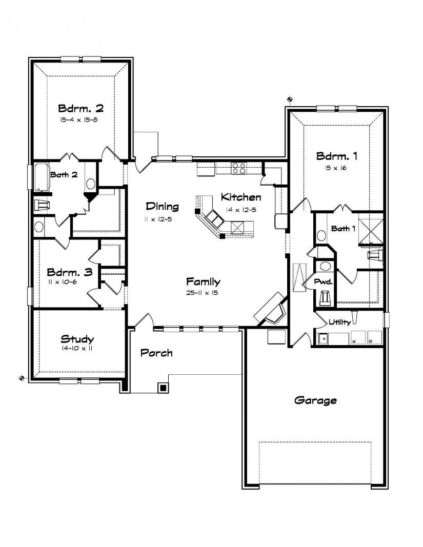 #654296 Three bedroom bungalow with study : House Plans Floor Plans Home Plans Plan It at