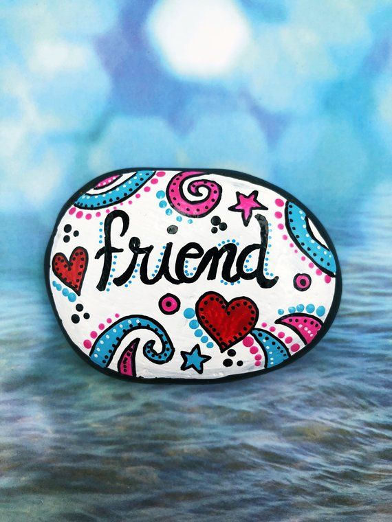 Friendship Gift, Friend Painted Rock, Best Friends Painted Stone, Hearts, Gift for Loved One, Hand-Painted Rocks