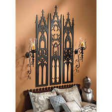 Gothic Cathedral Triptych Metal Wall Sculpture medieval headboard hanging gate a
