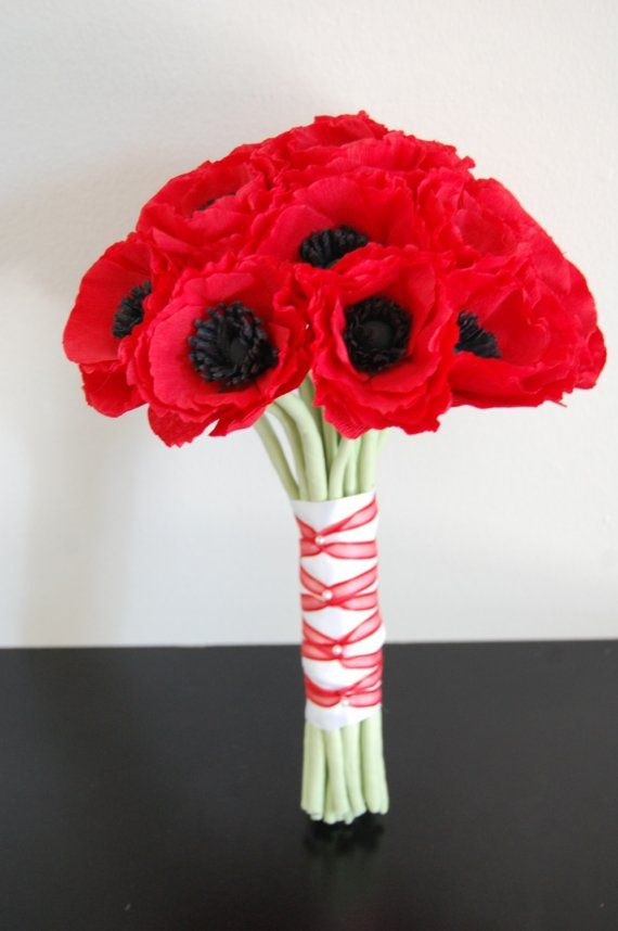 Red poppy flower bridesmaids bouquets red poppies wedding bouquet red poppy flower bridesmaids bouquets red poppies wedding bouquet by stjudescreations on etsy mightylinksfo