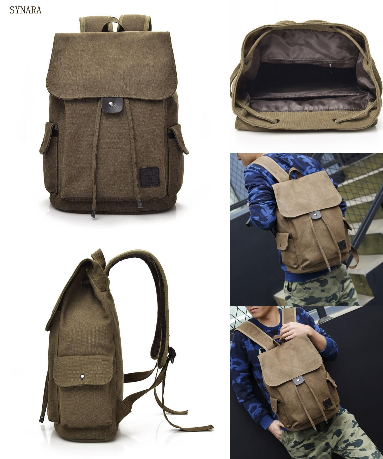 f6718fa672ef  Visit to Buy  Senkey style Men Backpack Vintage Casual Canvas Backpack  School Bags For