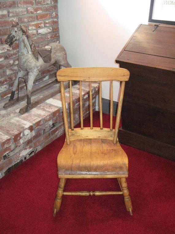 Antique Children's Wooden Rocking Chair Made in 1800s by Relic189, $160.00 - Antique Children's Wooden Rocking Chair Made In 1800s By Relic189