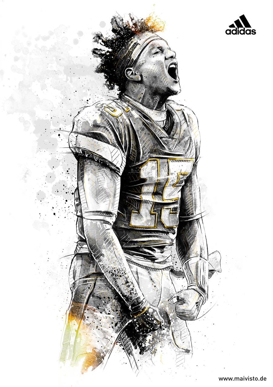 Pin By Shelly Shaffer On Talon In 2020 Sport Illustration Sports Art Nfl Football Art